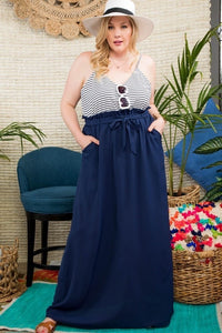 Plus Size Striped Top Maxi Dress