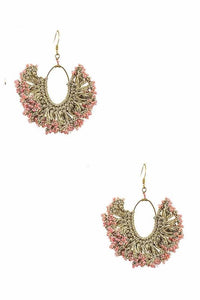 Crescent Beaded Pink Earrings