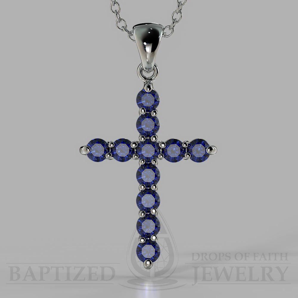 Cross pendants baptized jewelry blue sapphire classic cross pendant in 14k gold 125 ctw 14k white gold aloadofball Images