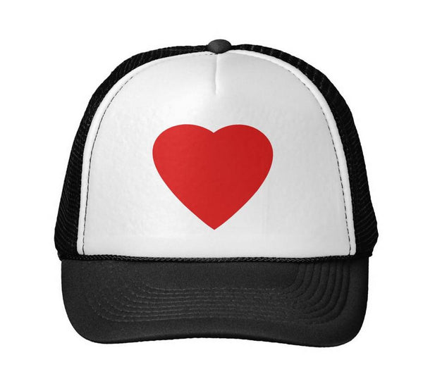 Red Heart Print Baseball Trucker Hat