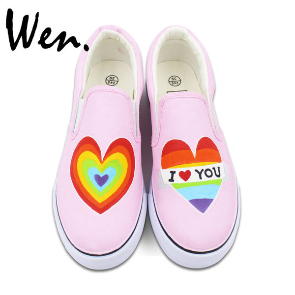 Rainbow Color Heart Hand Painted Shoes