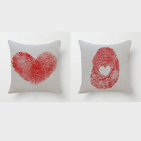 Romantic Red Love Heart Cotton Linen Cushion Cover In Fingerprint Pattern