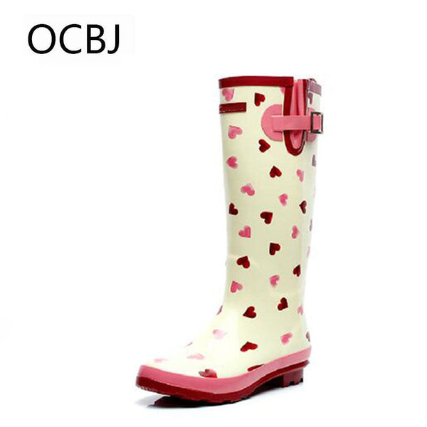 Heart Printed Rubber Rain Boots