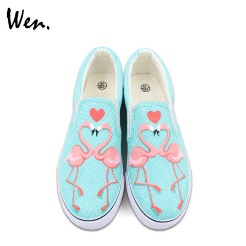 Flamingo Hand Painted Heart Shoes