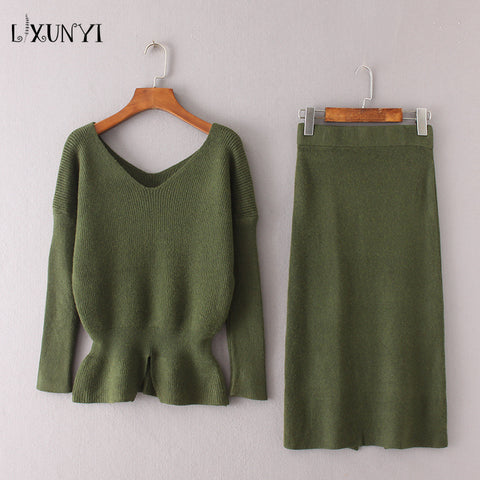 2018 Autumn Winter Knit Skirt Suit Set 2 Piece Pullover+Knee Skirt