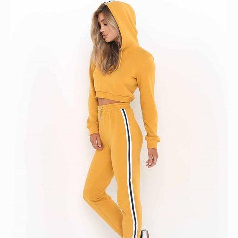 Autumn Winter Women Hooded Sweater Suits  Long Sleeve