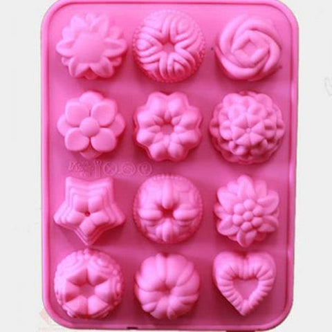 12 Flower Cake Molds Tin Chocolate Baking Muffin