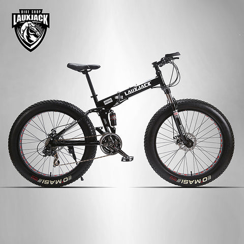 LAUXJACK Mining two-ply bicycle steel folding frame 24 speed Shimano mechanical disc brakes