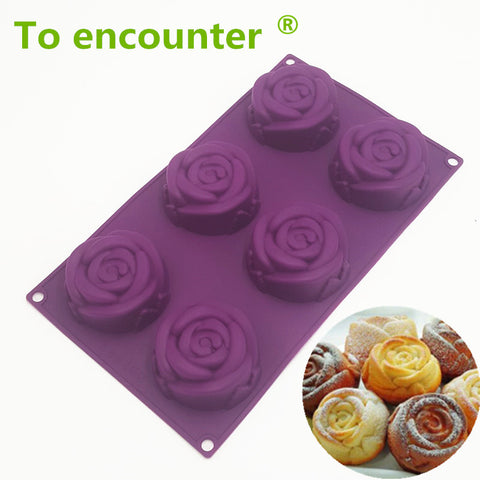To encounter 29*17*3.5cm 140G Rose Shape Cup Cake Moulds Silicone