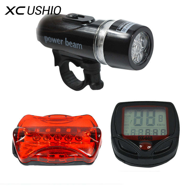 Bicycle Speedometer and 5 LED Mountain Bike Cycling Light Head and Rear Lamp Light Super Bicycle Accessories Set