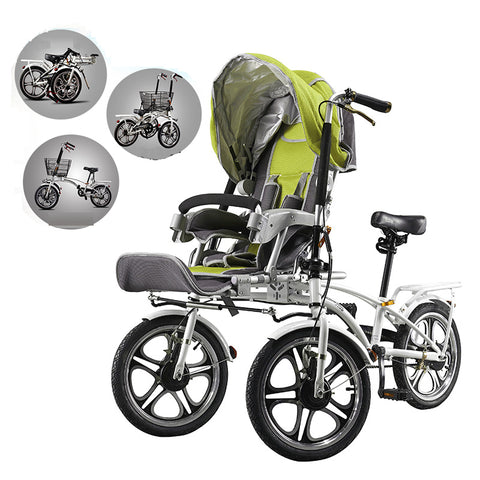 Mama baby bike stroller, mother and child cart, double bike for entire family