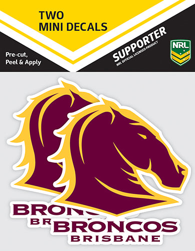 Brisbane Broncos Car Stickers Mini  (2pk)