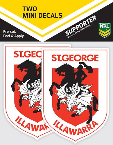 St George Illawarra Dragons Car Stickers Mini (2pk)