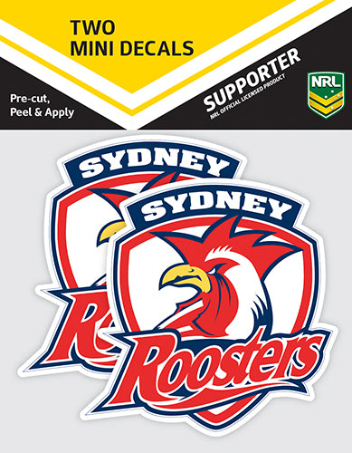 Sydney Roosters Car Stickers Mini (2pk)