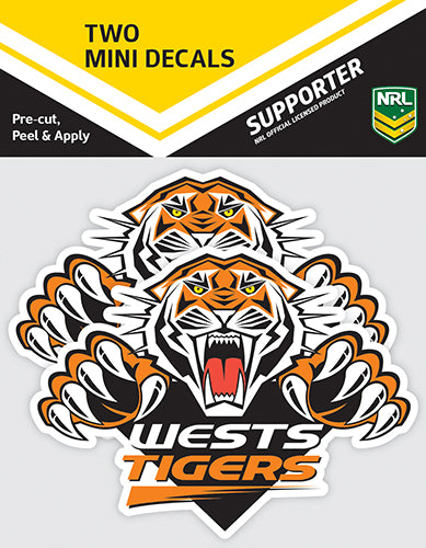 Wests Tigers Car Stickers Mini (2pk)