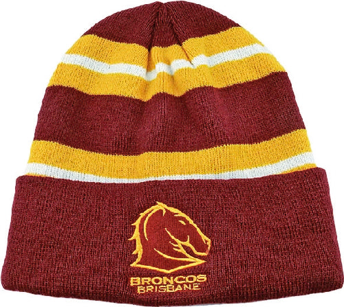 Brisbane Broncos Beanie - Striped