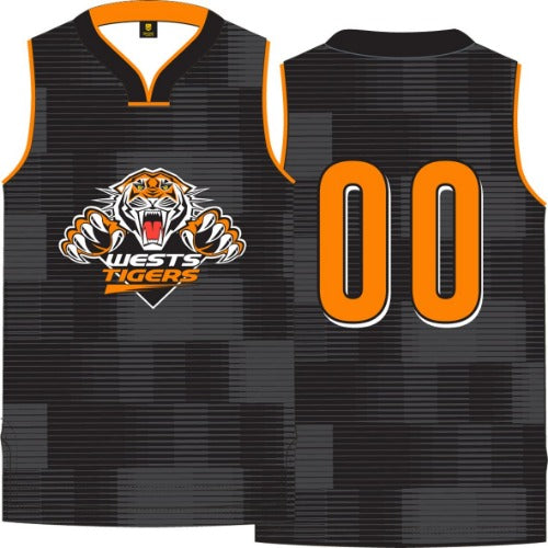 Wests Tigers Mens Basketball Singlet