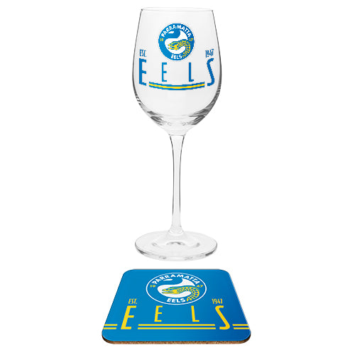 Parramatta Eels Wine Glass and Coaster Set