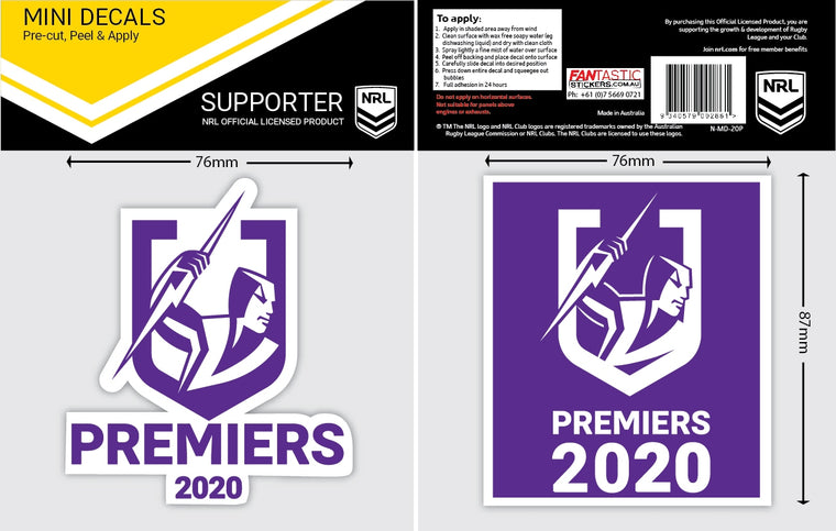 Melbourne Storm 2020 Premiers Car Stickers Mini  (2pk)