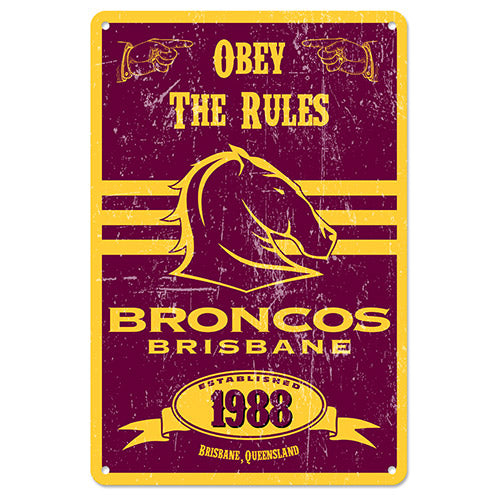 Brisbane Broncos Retro Tin Sign