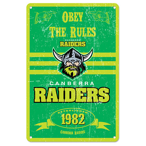 Canberra Raiders Retro Tin Sign