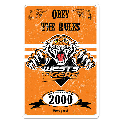 Wests Tigers Retro Tin Sign