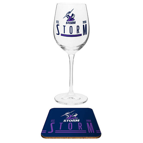 Melbourne Storm Wine Glass and Coaster Set