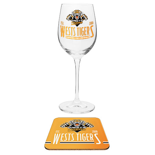 Wests Tigers Wine Glass and Coaster Set