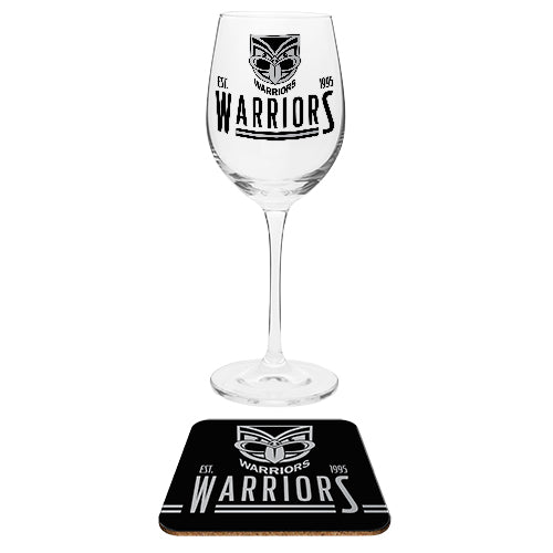 NZ Warriors Wine Glass and Coaster Set