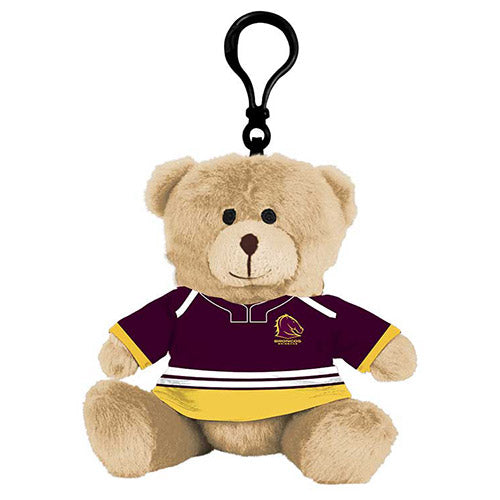Brisbane Broncos Plush Teddy Bear Bag Tag
