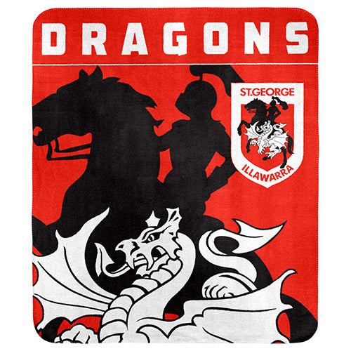 St George Illawarra Dragons Polar Fleece Throw Rug