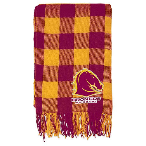 Brisbane Broncos Throw Rug - Tartan