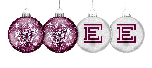 Manly Sea Eagles Glitter Baubles (4pk)