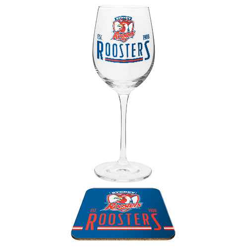Sydney Roosters Wine Glass and Coaster Set