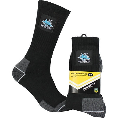 Cronulla Sharks Work Socks (2pk)