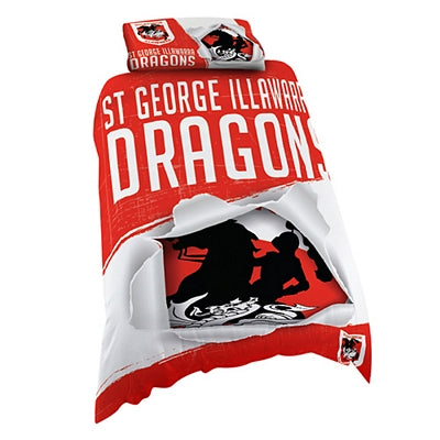 St George Illawarra Dragons Quilt Cover - Single