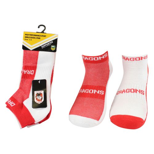 St George Illawarra Dragons Ankle Socks (2pk)
