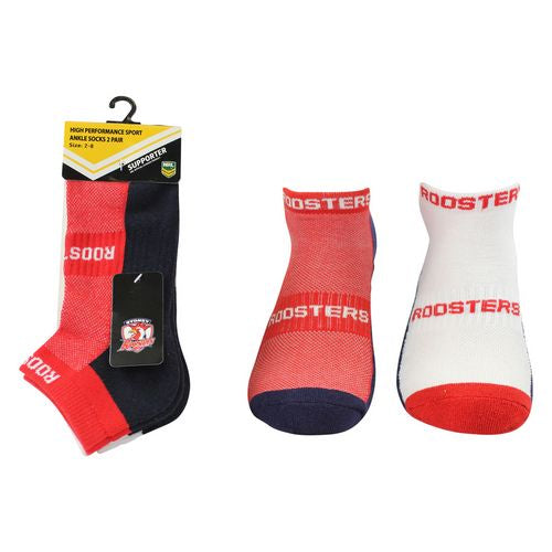 Sydney Roosters Ankle Socks (2pk)