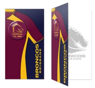 Brisbane Broncos Birthday Card + Badge