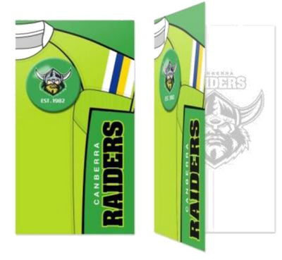 Canberra Raiders Birthday Card + Badge