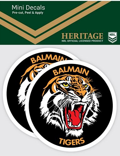 Balmain Tigers Heritage Car Stickers Mini  (2pk)