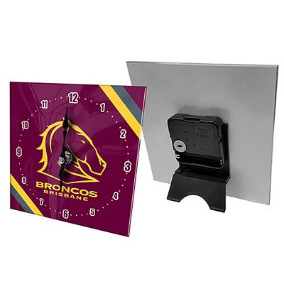 Brisbane Broncos Mini Glass Clock