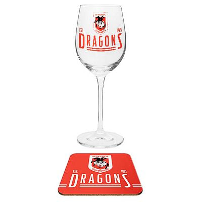 St George Illawarra Dragons Wine Glass and Coaster Set