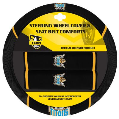 Gold Coast Titans Car Steering Wheel Set