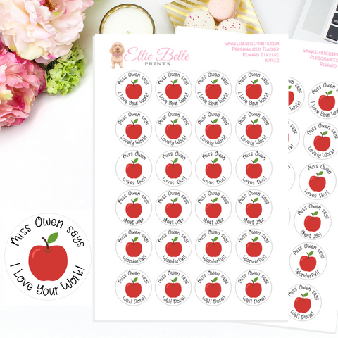 Apples - Personalised Teacher Reward Stickers