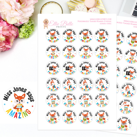 School Foxes - Personalised Teacher Reward Stickers