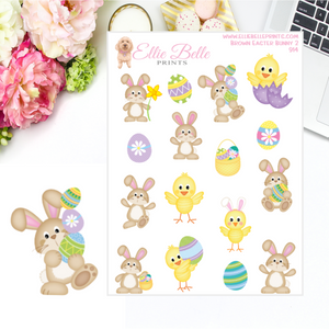 Brown Easter Bunny 2 Stickers