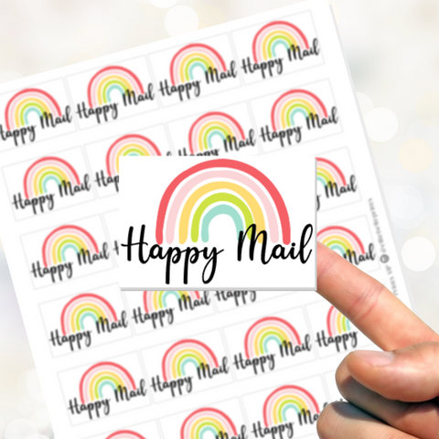 Happy Mail Rainbow Stickers - Rectangle