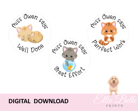Cat - Personalised Digital Teacher Reward Stickers