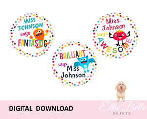 Confetti Monsters - Personalised Digital Teacher Reward Stickers